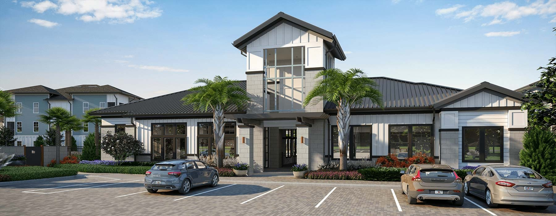 rendering of entrance to Bainbridge Sunlake showing ample parking and tropical landscaping